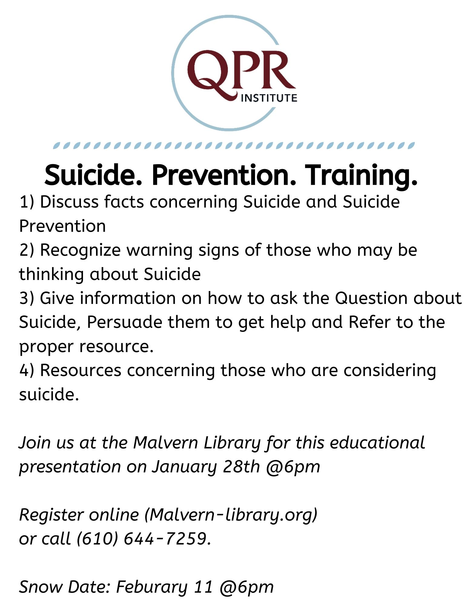 Suicide. Prevention. Training.